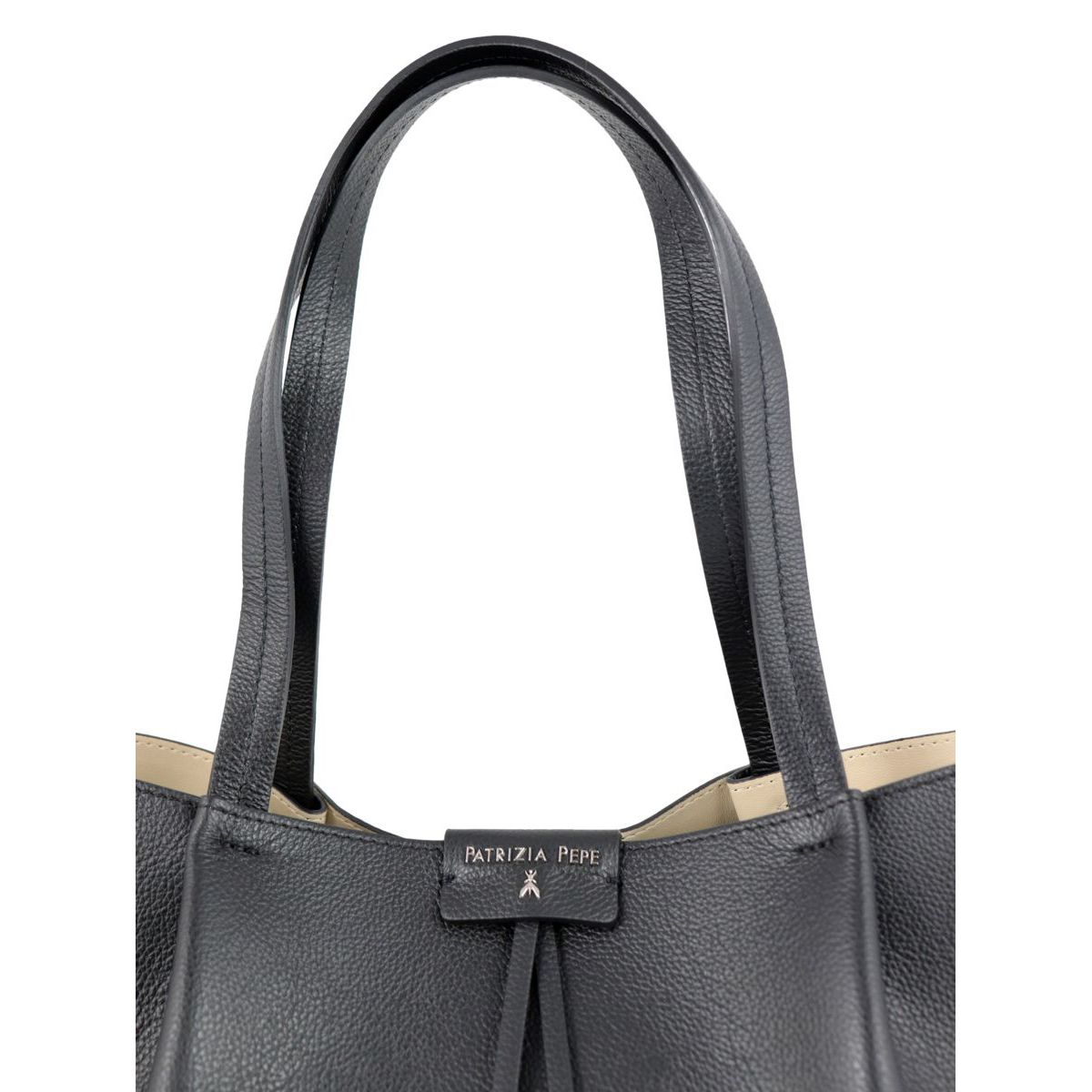 Shopper bag in cowhide leather with logo Black Patrizia Pepe