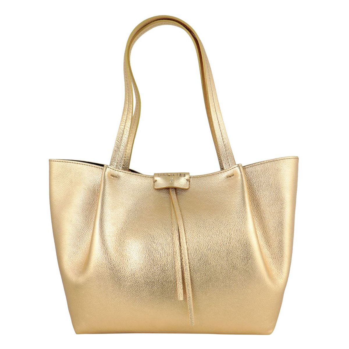 Shopper bag in cowhide leather with logo Gold Patrizia Pepe