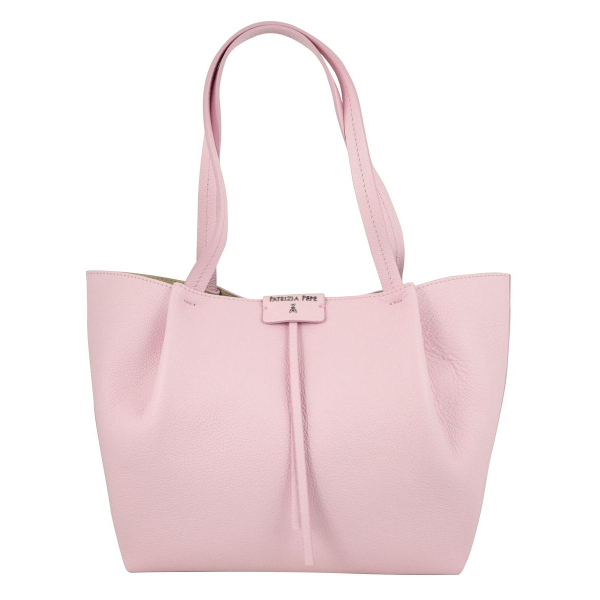 Shopper bag in cowhide leather with logo Peony Patrizia Pepe
