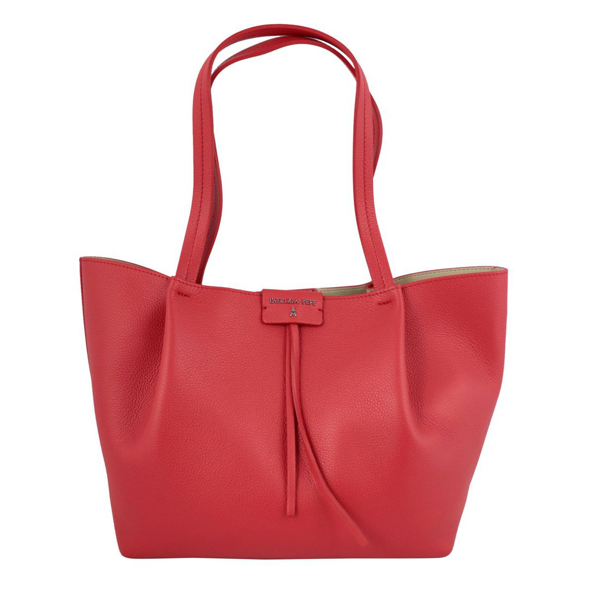 Shopper bag in cowhide leather with logo Red Patrizia Pepe