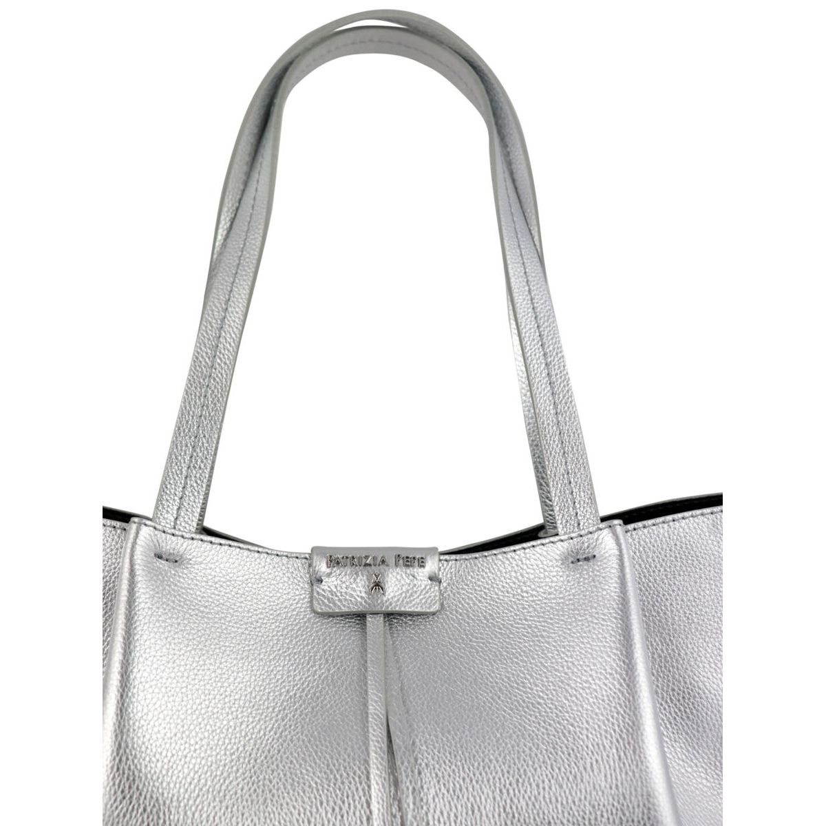 Shopper bag in cowhide leather with logo Silver Patrizia Pepe
