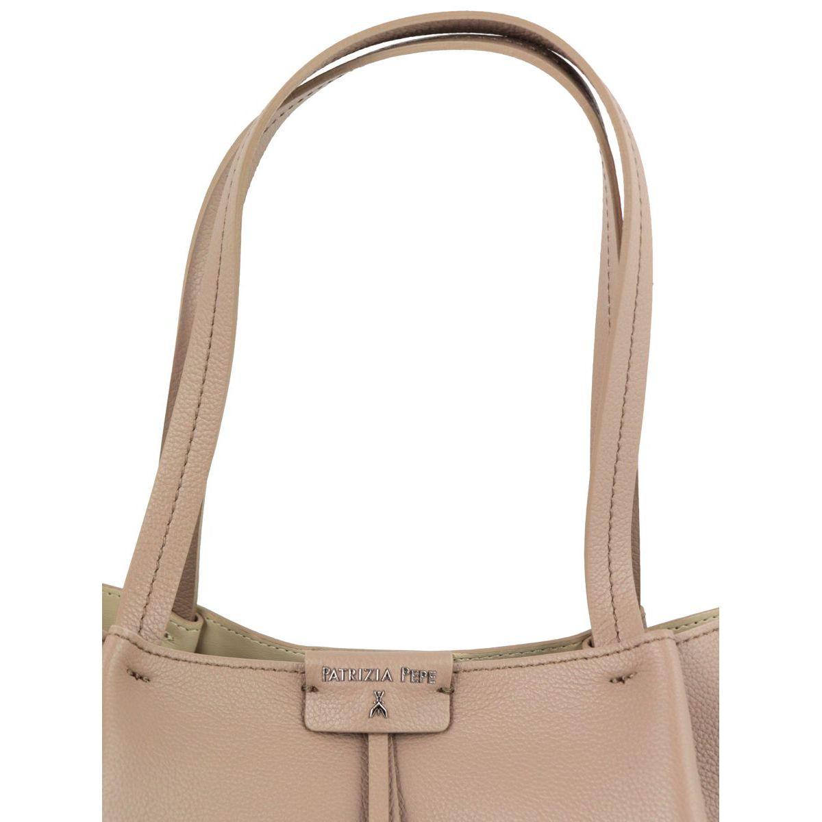 Shopper bag in cowhide leather with logo Tortora Patrizia Pepe