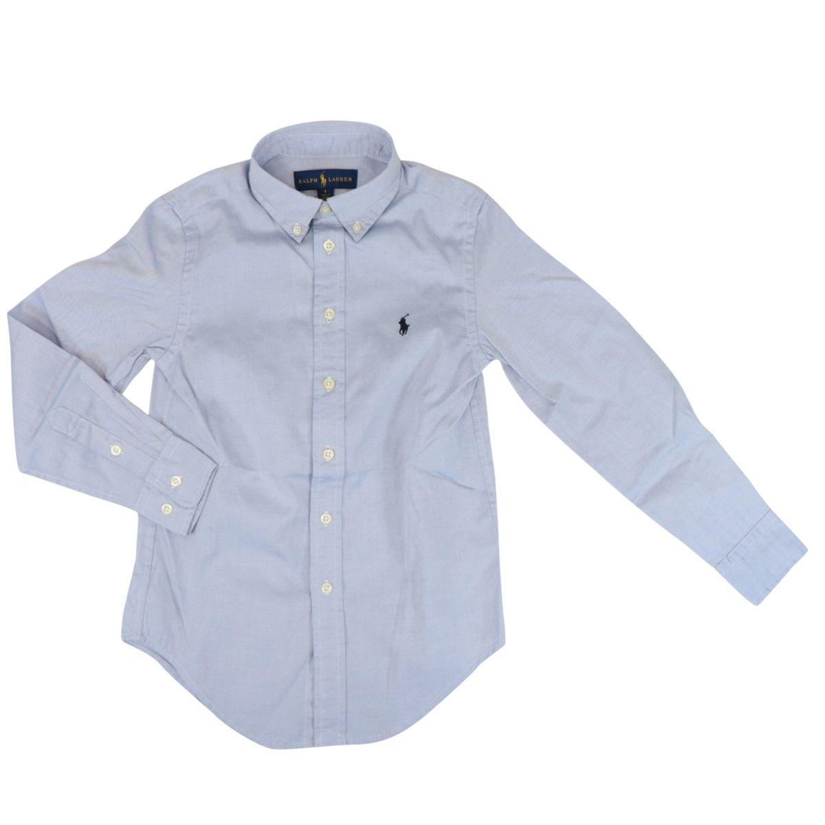 Cotton shirt with botton down collar Oxford blue Polo Ralph Lauren