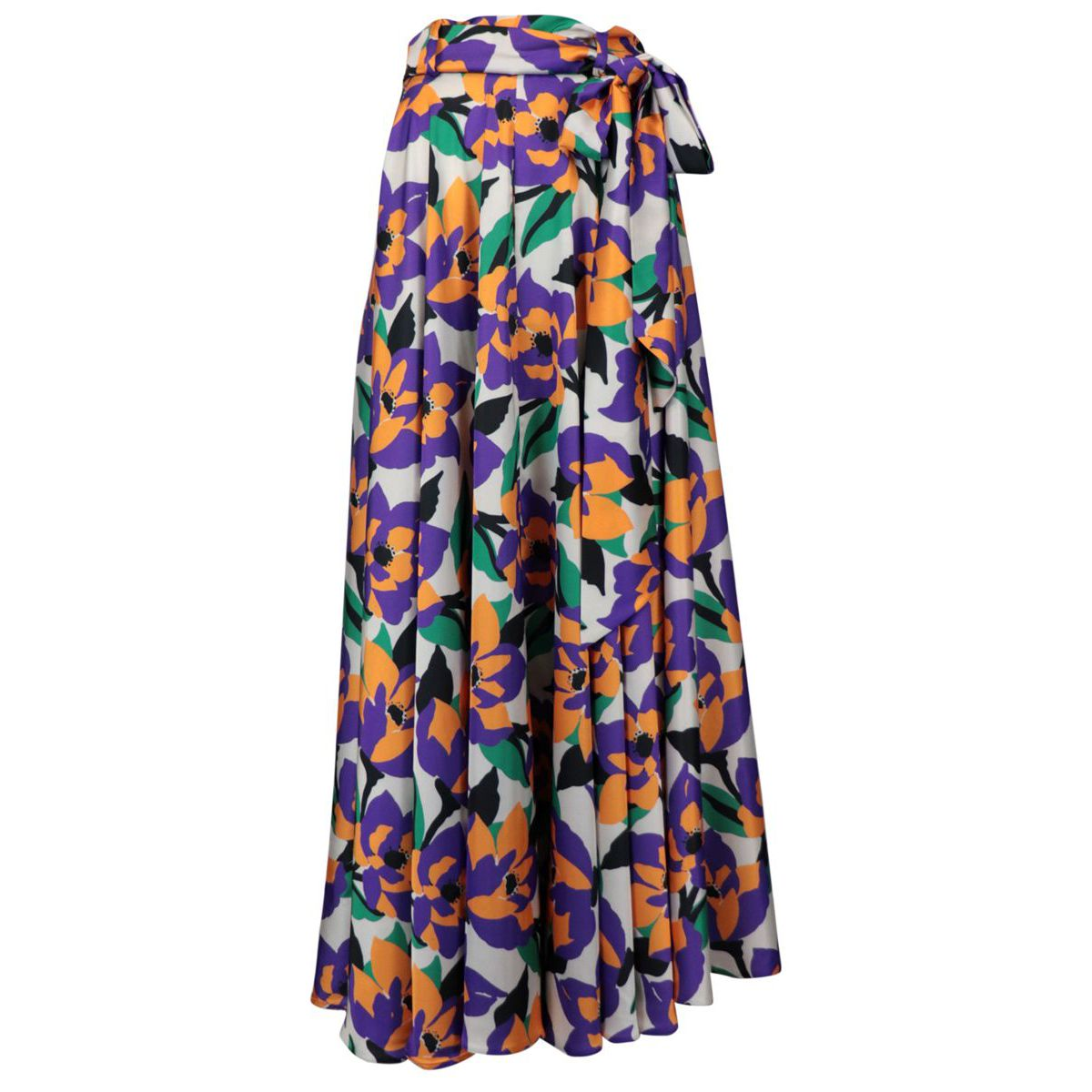 Wide elastic skirt with bow belt Purple / green GIADA CURTI