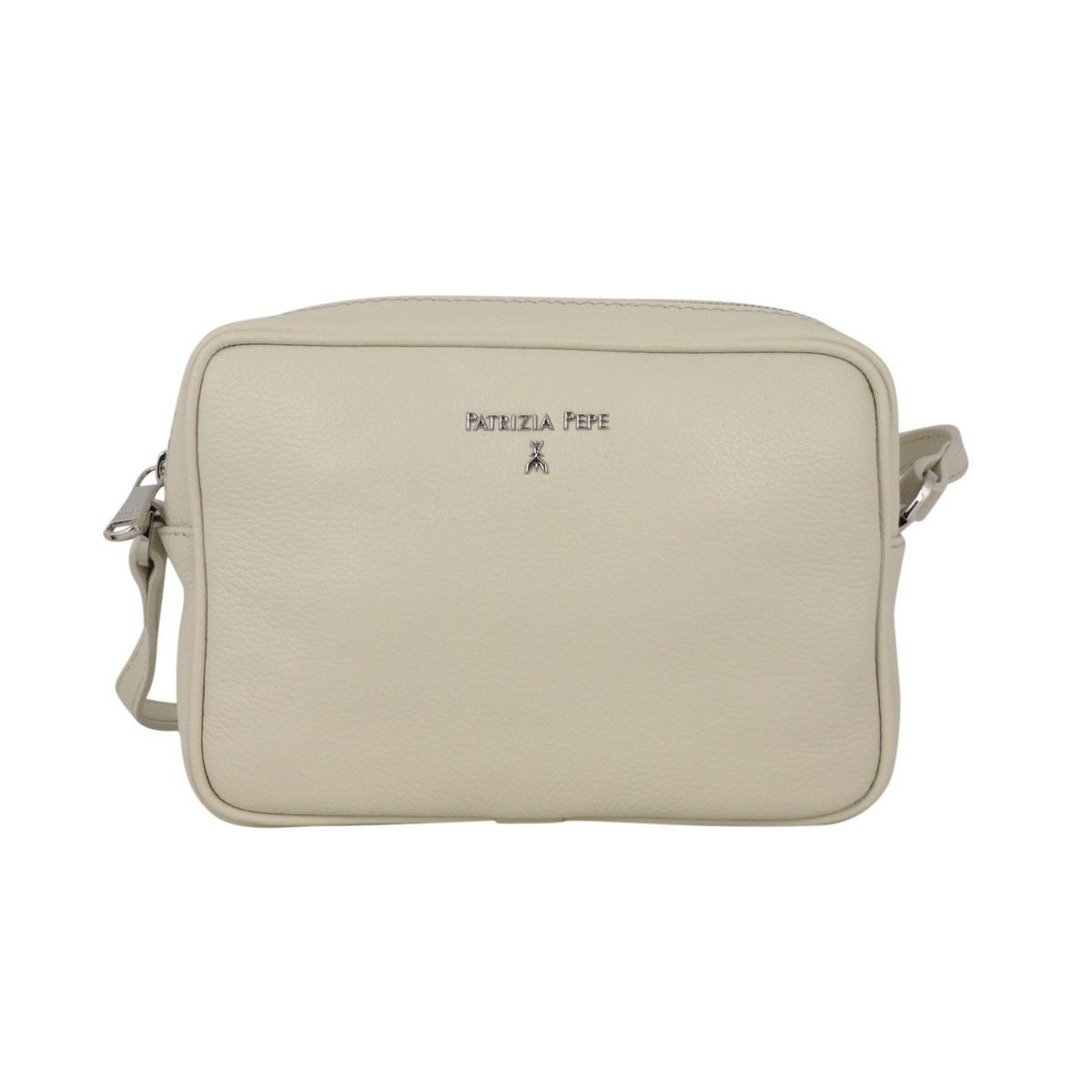 Small shoulder bag in textured leather with embossed metal logo Ivory Patrizia Pepe