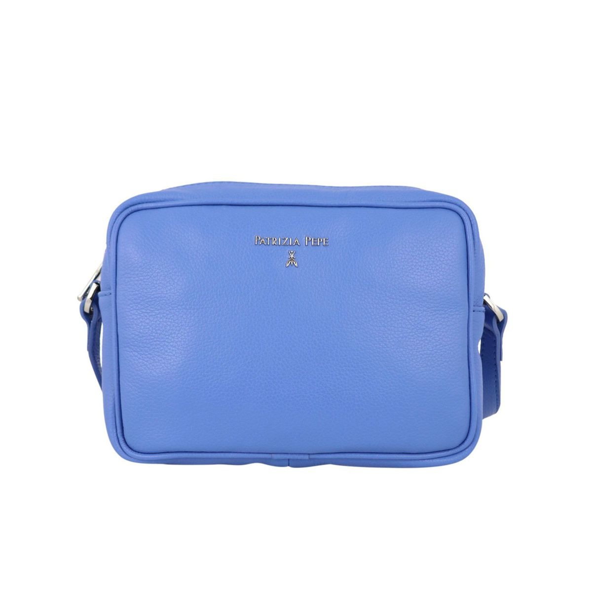 Small shoulder bag in textured leather with embossed metal logo Light blue Patrizia Pepe