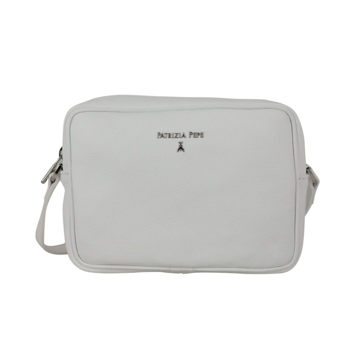 Small shoulder bag in textured leather with embossed metal logo White Patrizia Pepe