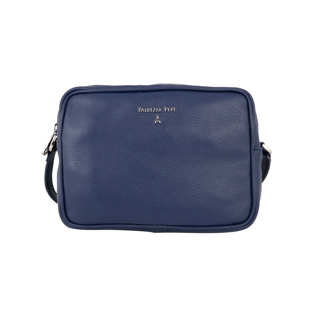 Small shoulder bag in textured leather with embossed metal logo Blue Patrizia Pepe