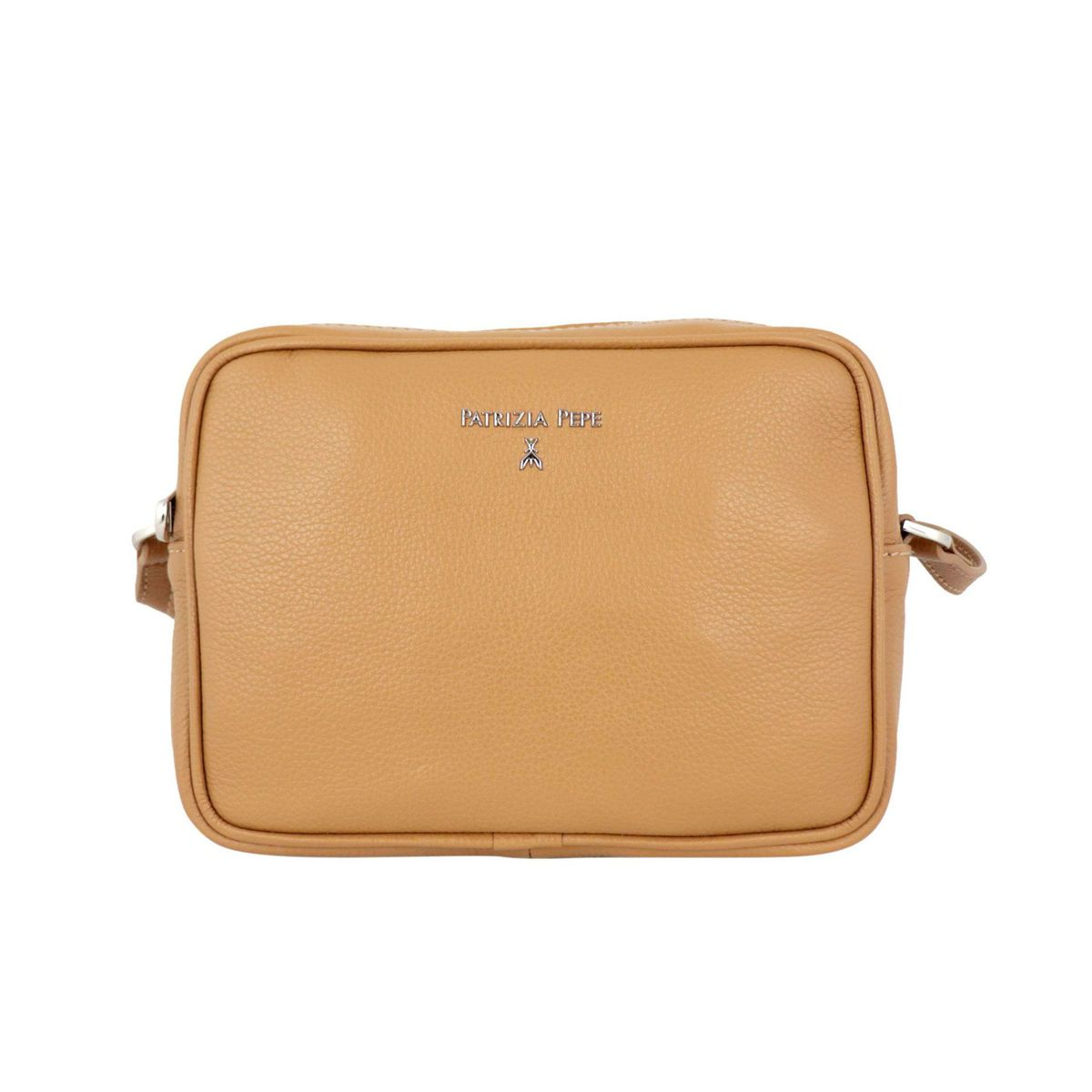 Small shoulder bag in textured leather with embossed metal logo Leather Patrizia Pepe