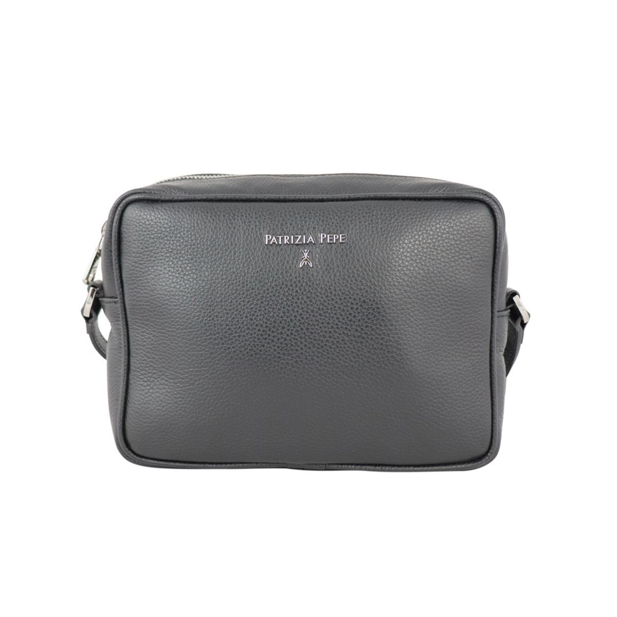 Small shoulder bag in textured leather with embossed metal logo Black Patrizia Pepe