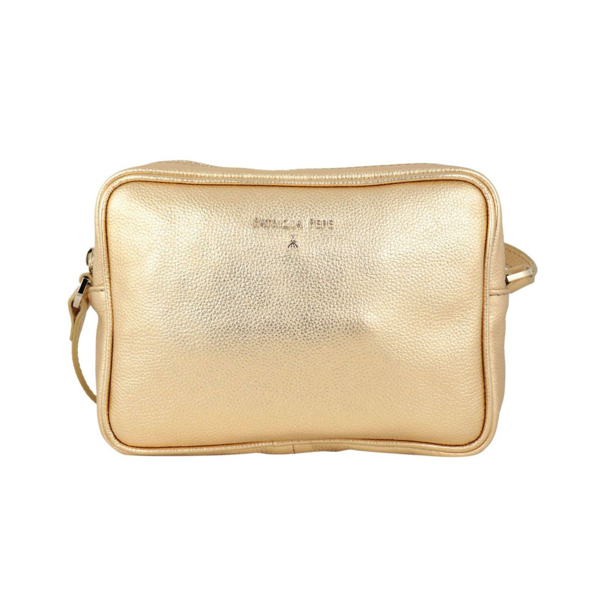 Small shoulder bag in textured leather with embossed metal logo Gold Patrizia Pepe