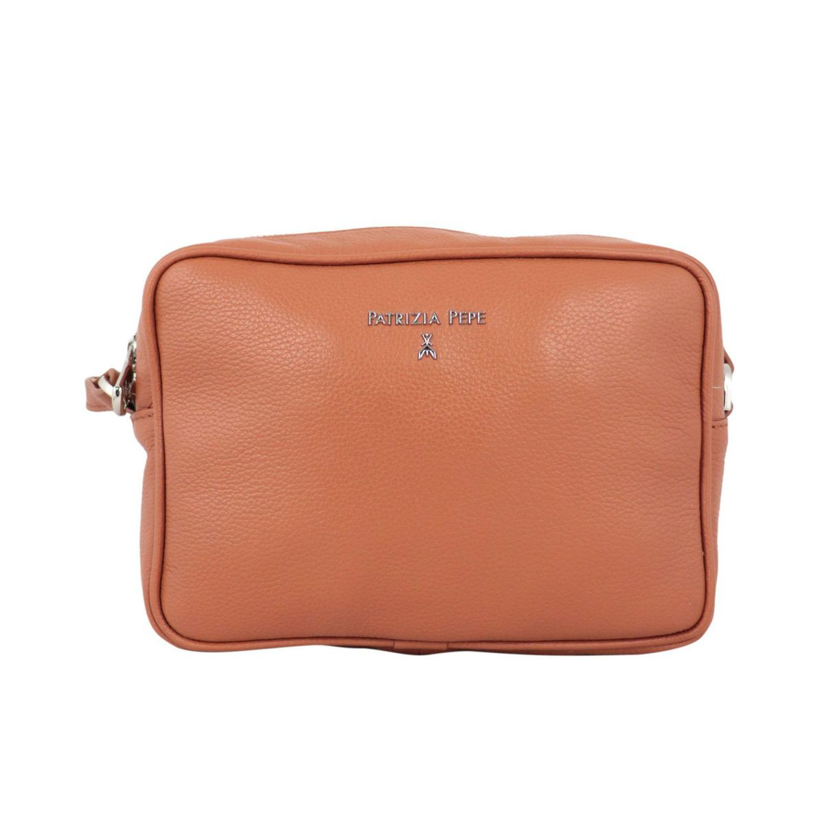 Small shoulder bag in textured leather with embossed metal logo Rust Patrizia Pepe