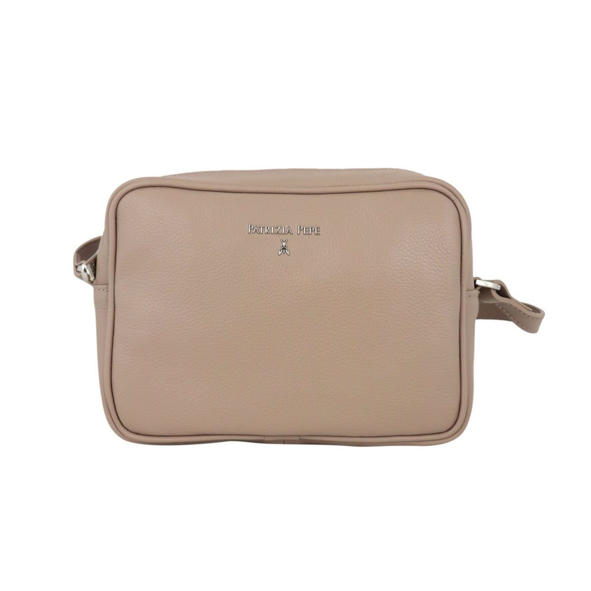 Small shoulder bag in textured leather with embossed metal logo Tortora Patrizia Pepe