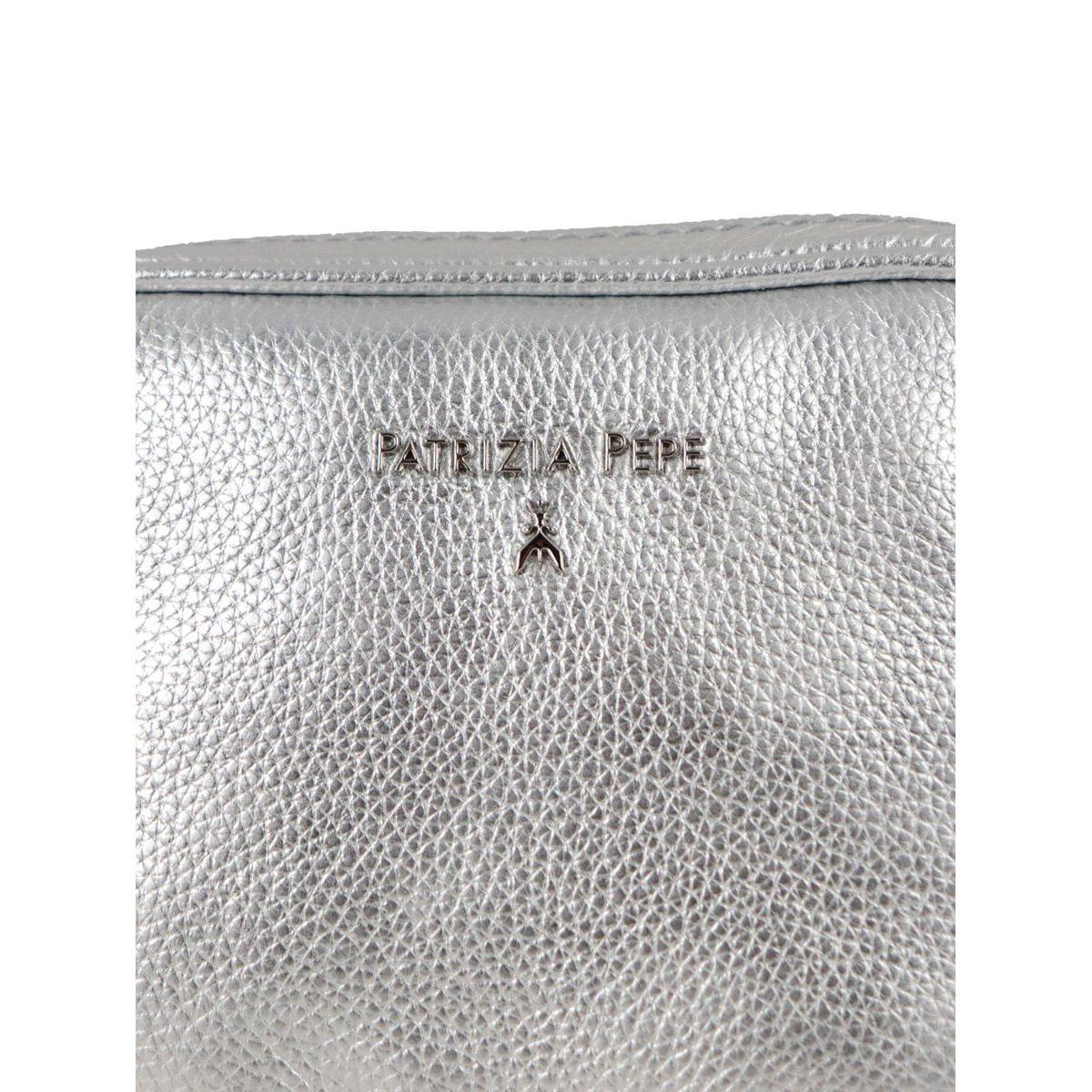 Shoulder strap in metal leather Silver Patrizia Pepe