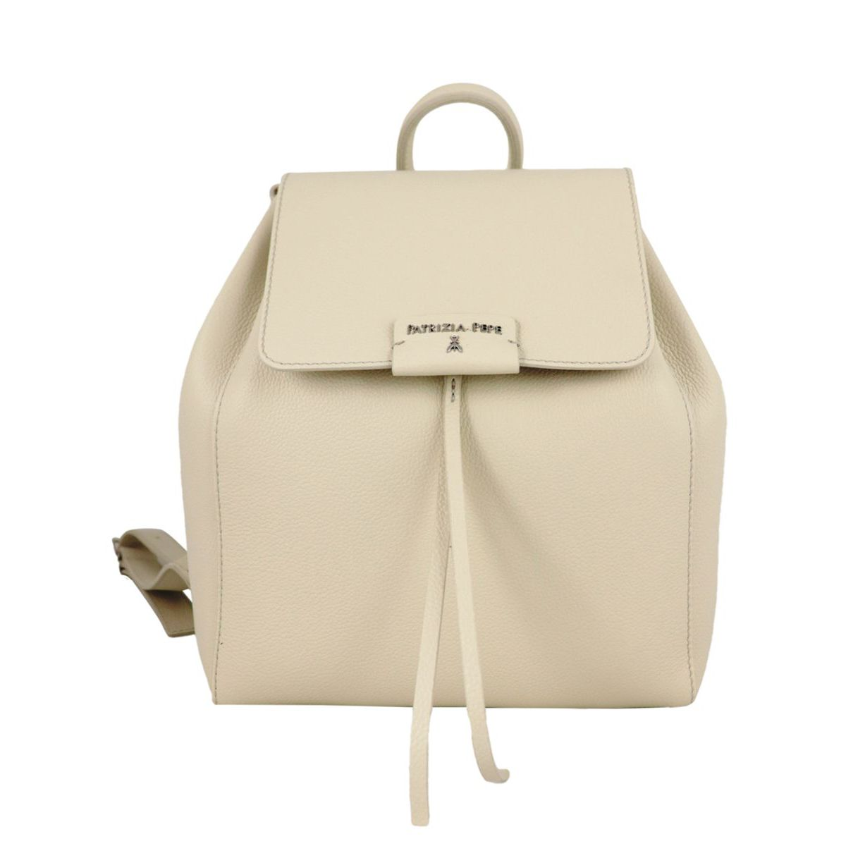 Textured leather backpack with logo Ivory Patrizia Pepe