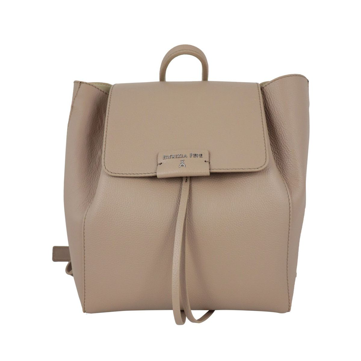 Textured leather backpack with logo Beige Patrizia Pepe