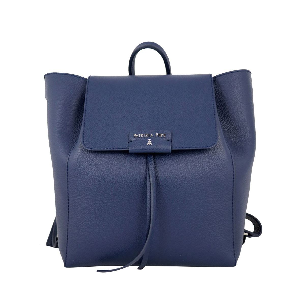 Textured leather backpack with logo Blue Patrizia Pepe