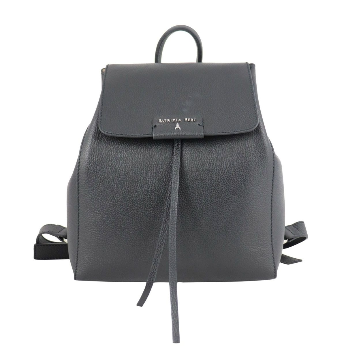 Textured leather backpack with logo Black Patrizia Pepe