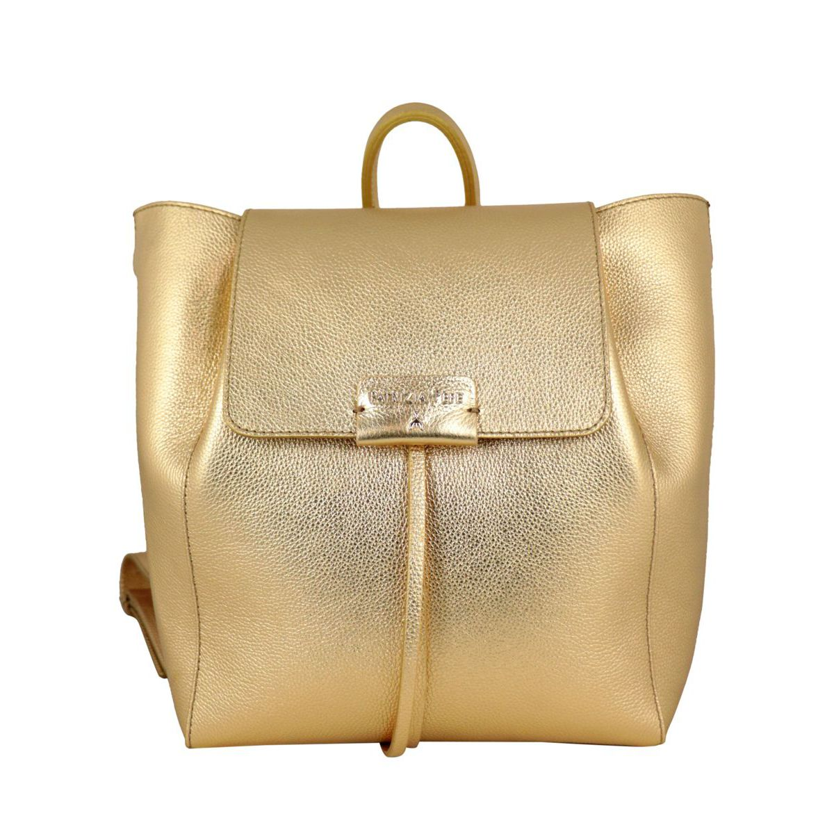 Textured leather backpack with logo Gold Patrizia Pepe