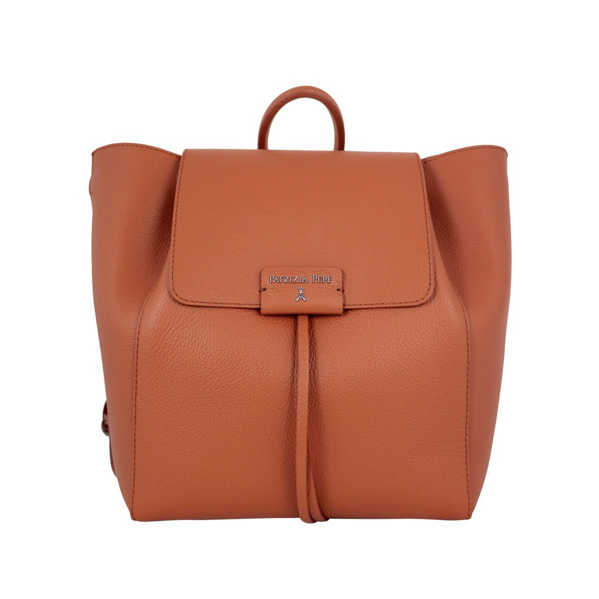 Textured leather backpack with logo Rust Patrizia Pepe