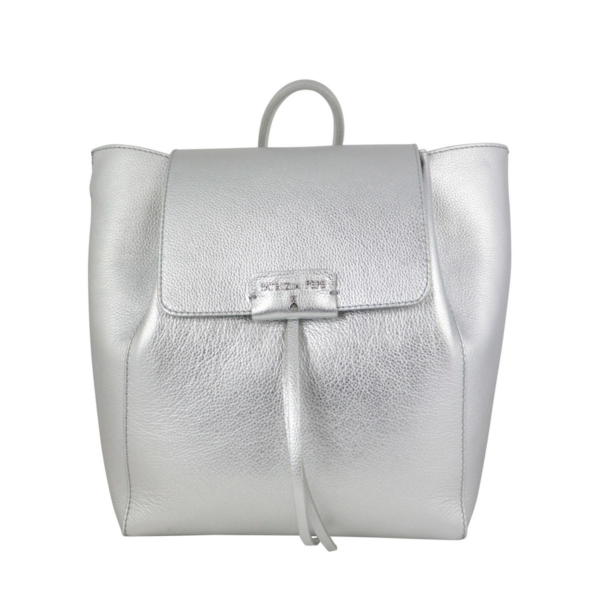 Textured leather backpack with logo Silver Patrizia Pepe