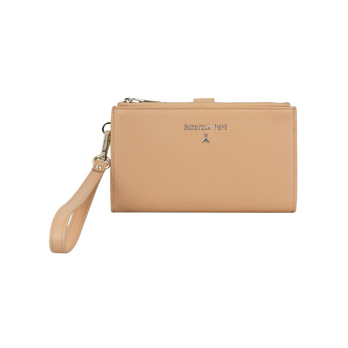 Leather wallet with double zip Beige Patrizia Pepe