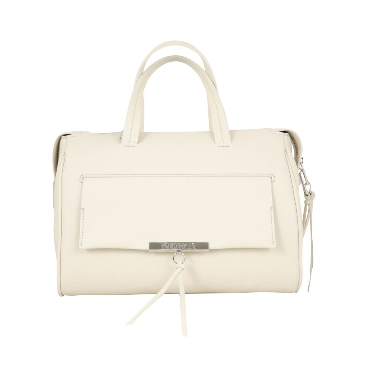 Top case in textured leather with logo and front pocket Ivory Patrizia Pepe