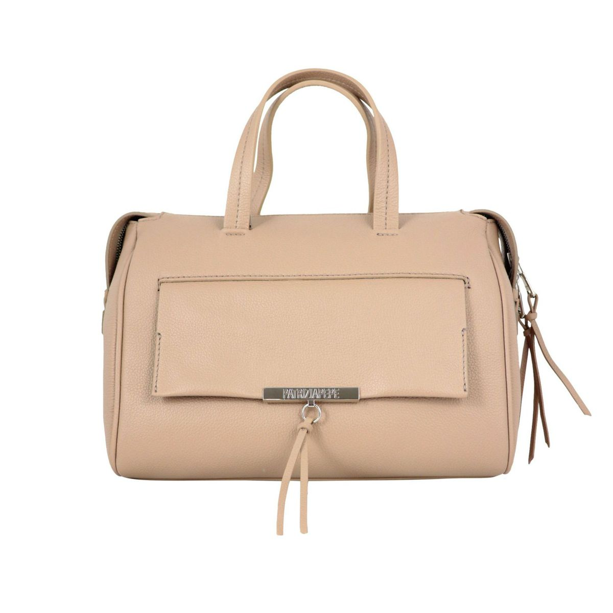 Top case in textured leather with logo and front pocket Beige Patrizia Pepe