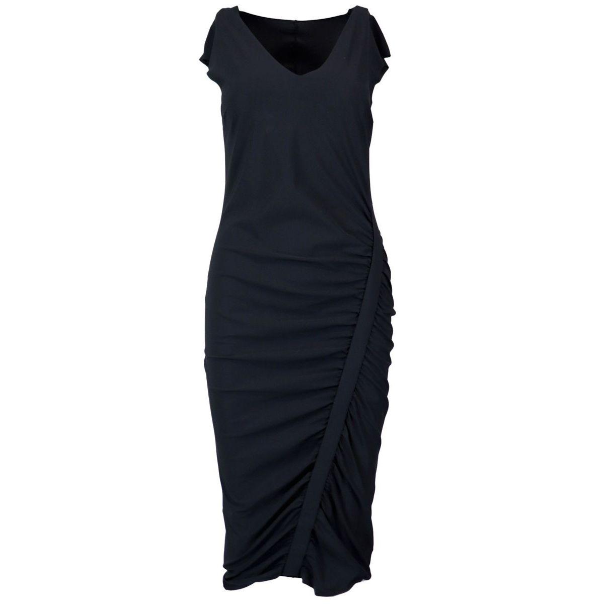 Sheath dress in stretch and draped fabric Black Patrizia Pepe