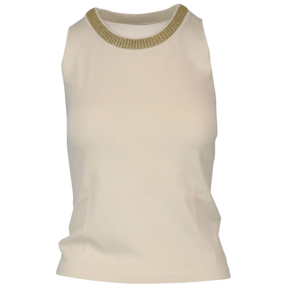 Viscose blend top with lurex detail on the crew neck Ivory Patrizia Pepe