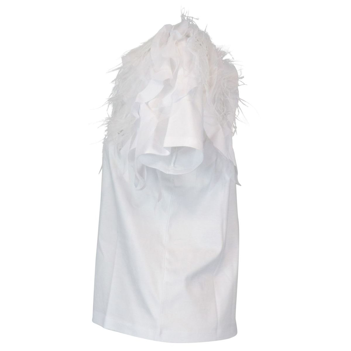 Cotton t-shirt with feathers and ruffles applications White Patrizia Pepe