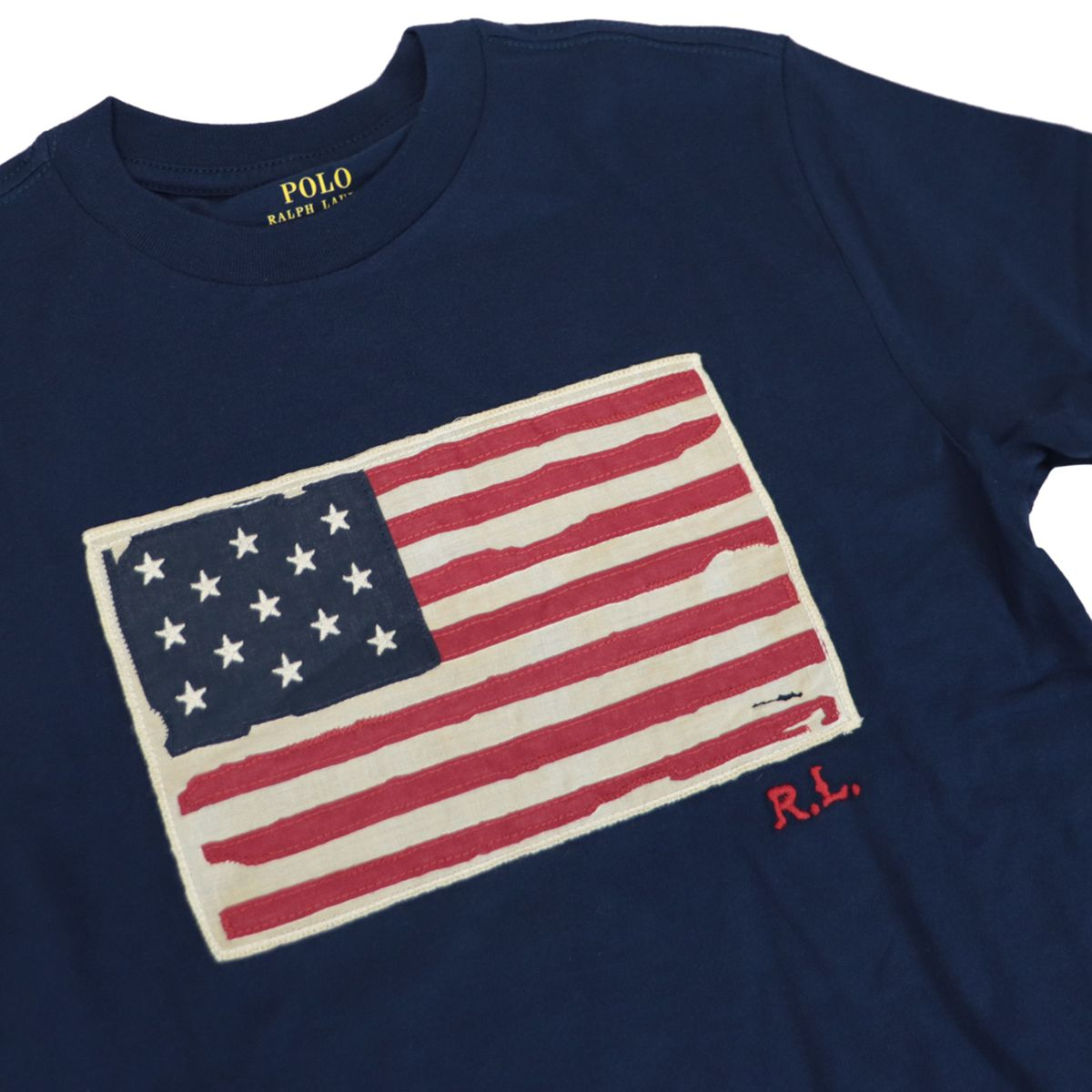 Cotton t-shirt with front logo flag print Navy Polo Ralph Lauren