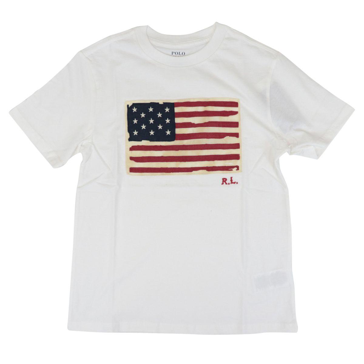 Cotton t-shirt with front logo flag print White Polo Ralph Lauren