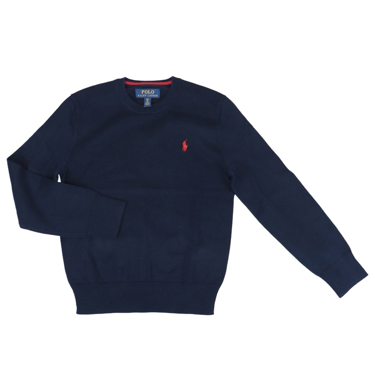 Classic cotton pullover with V-neck and contrasting logo embroidery Navy Polo Ralph Lauren