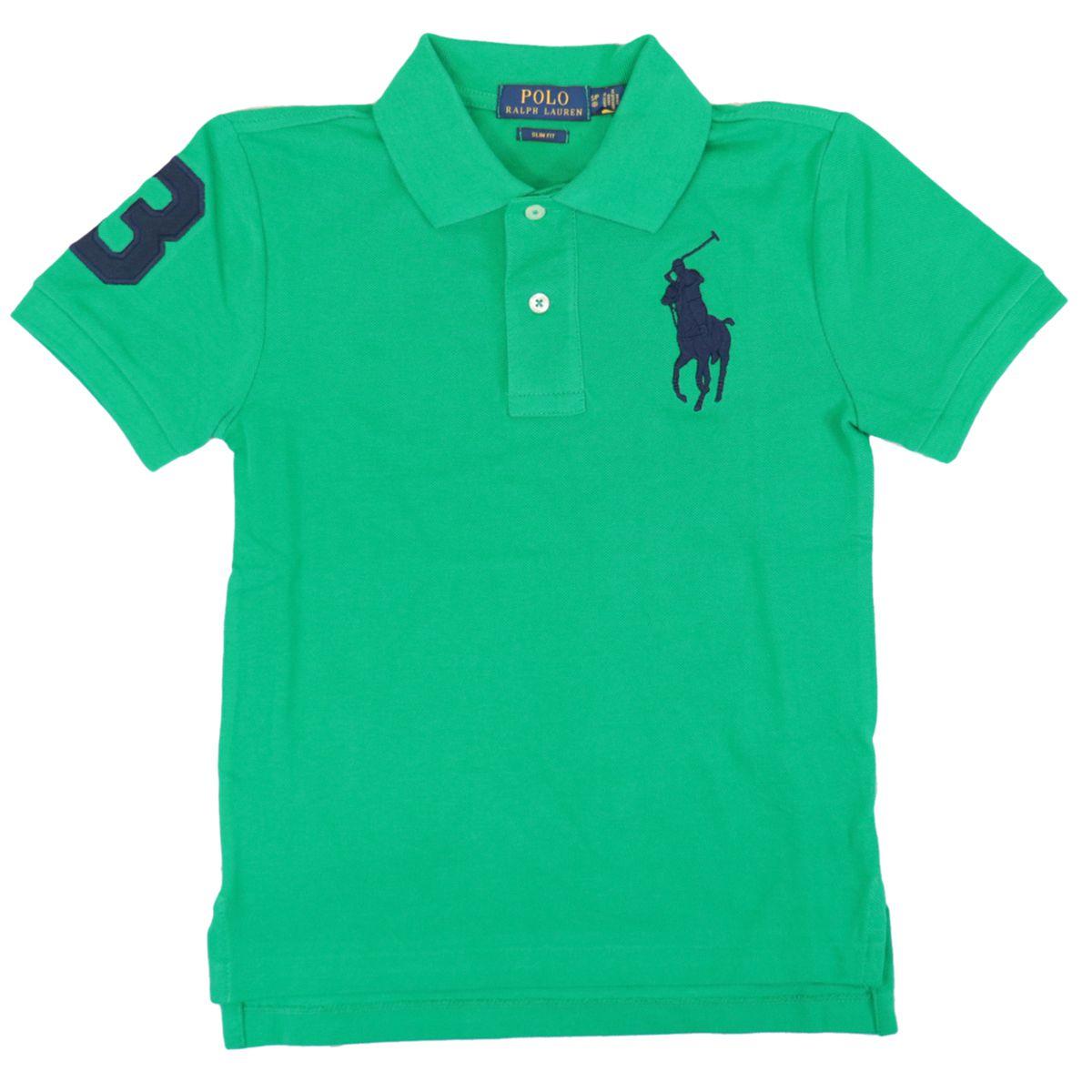 Short-sleeved cotton polo shirt with maxi contrasting logo Chroma green Polo Ralph Lauren