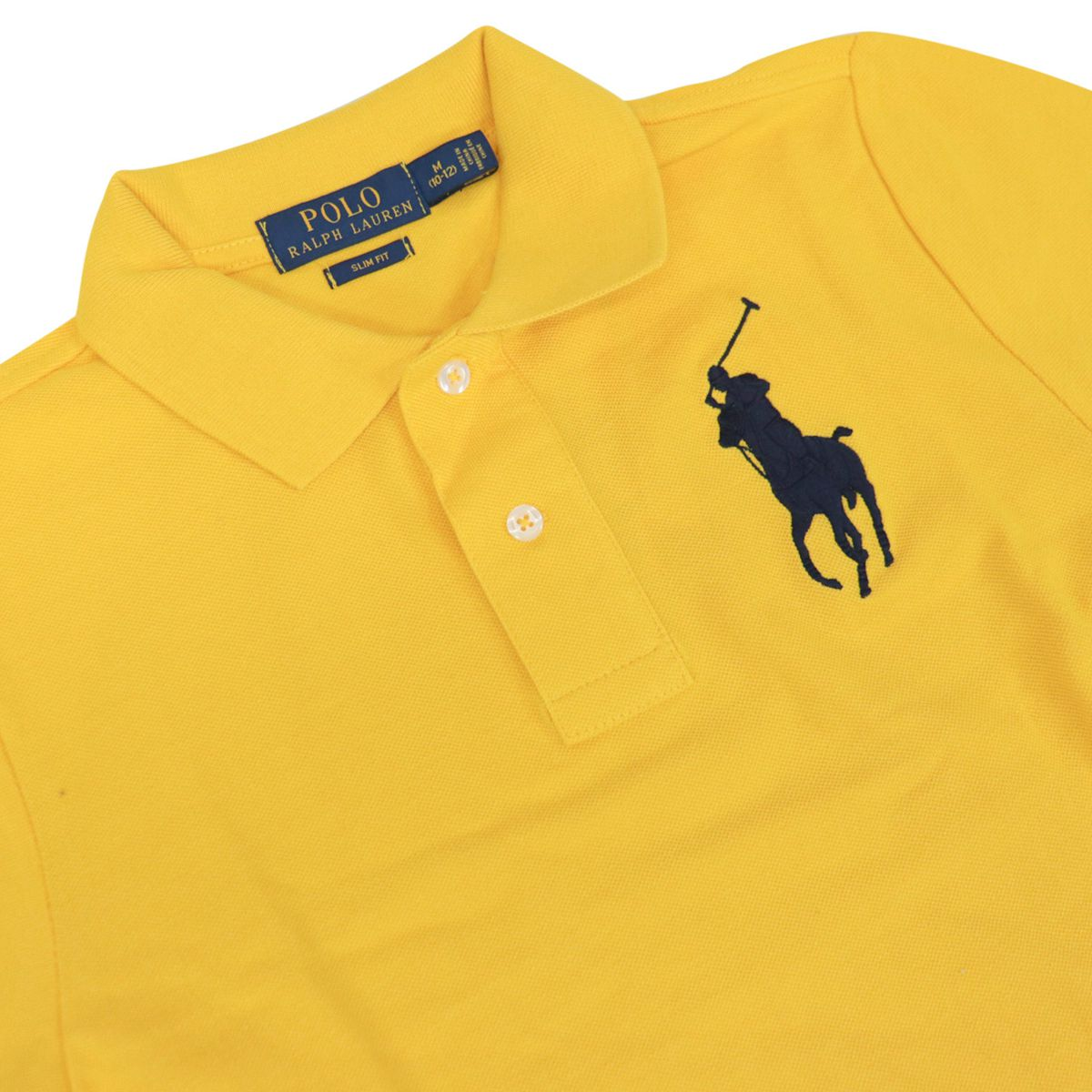 Short-sleeved cotton polo shirt with maxi contrasting logo Yellow Polo Ralph Lauren