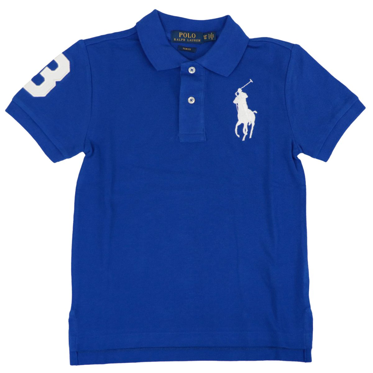 Short-sleeved cotton polo shirt with maxi contrasting logo Royal Polo Ralph Lauren