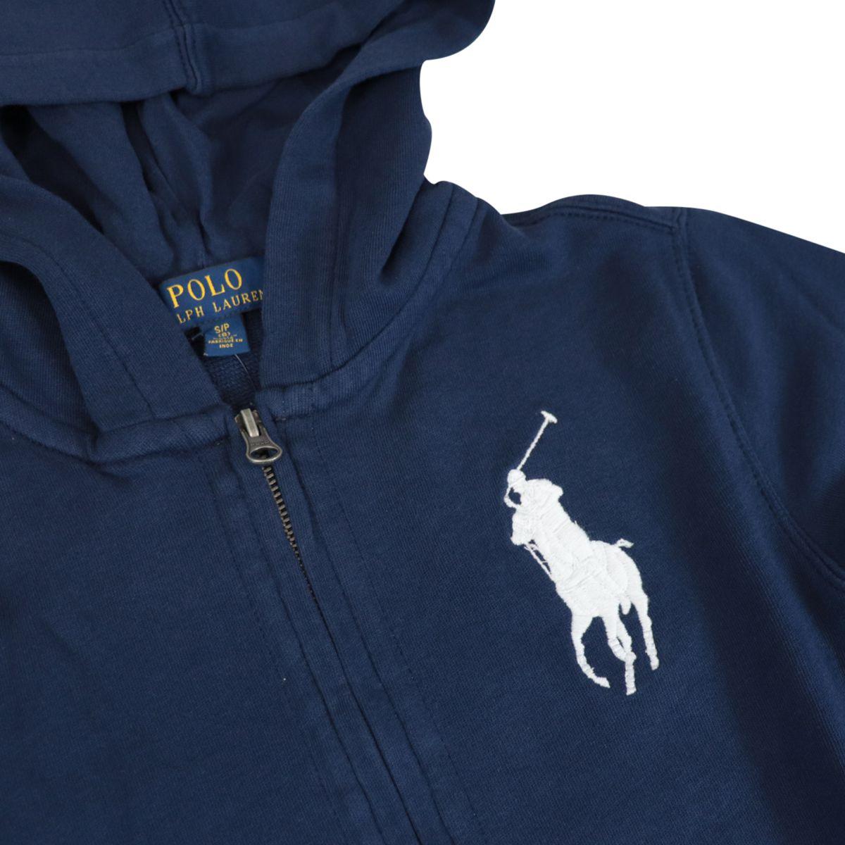 Cotton sweatshirt with zip hood and maxi logo embroidery Navy Polo Ralph Lauren