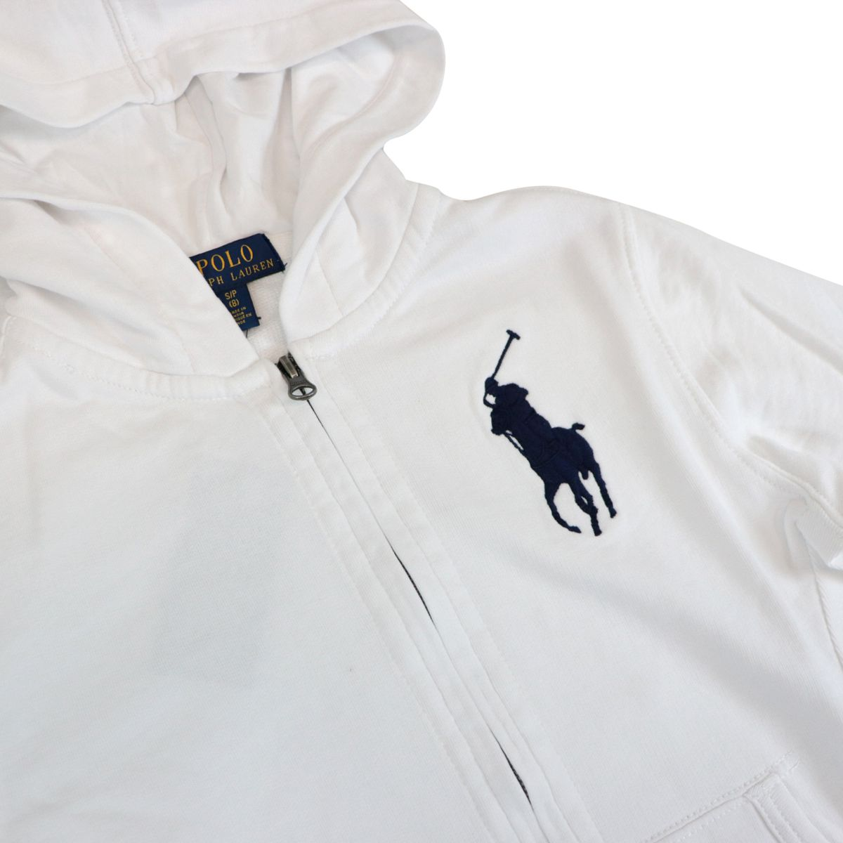 Cotton sweatshirt with zip hood and maxi logo embroidery White Polo Ralph Lauren