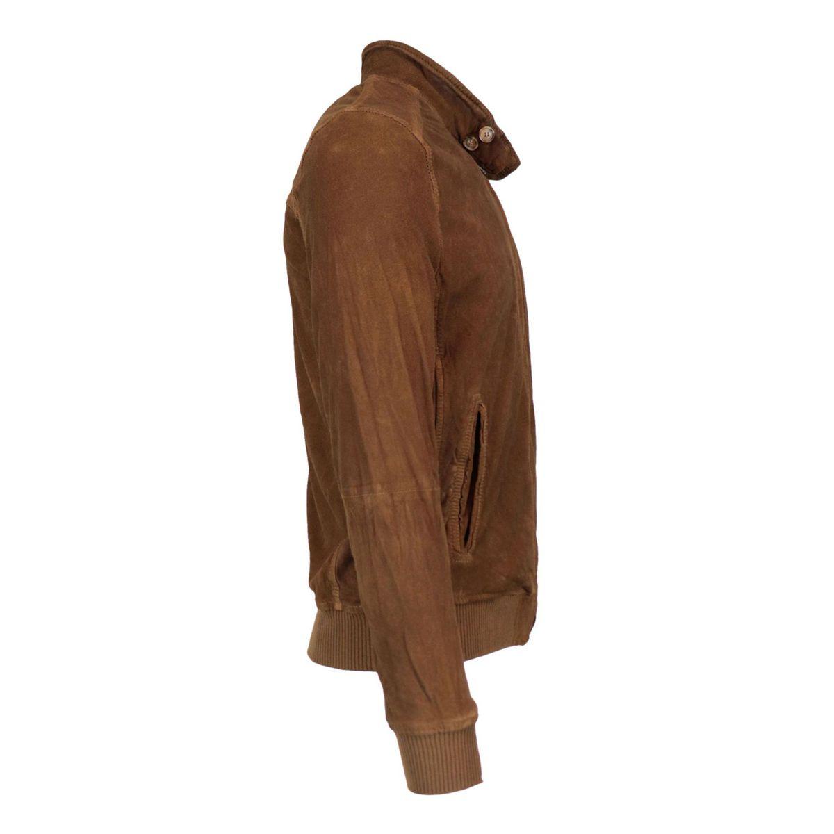 Nicolas jacket in vintage effect suede Tobacco Andrea D'amico