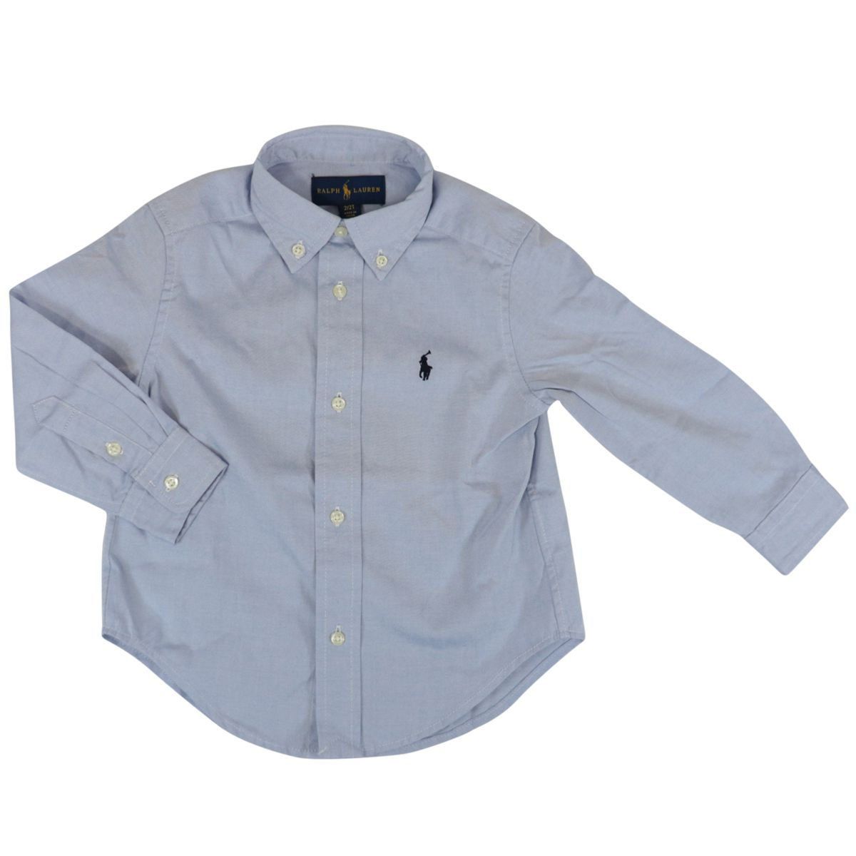 Long-sleeved shirt in custom fit cotton with button-down collar Oxford blue Polo Ralph Lauren