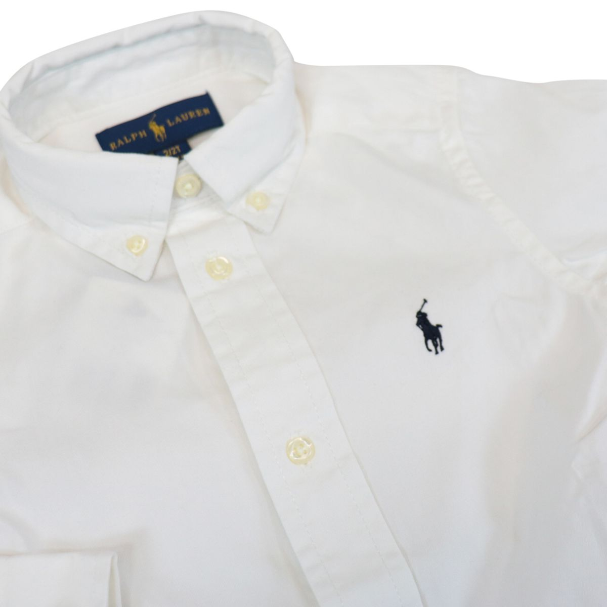 Long-sleeved shirt in custom fit cotton with button-down collar White Polo Ralph Lauren