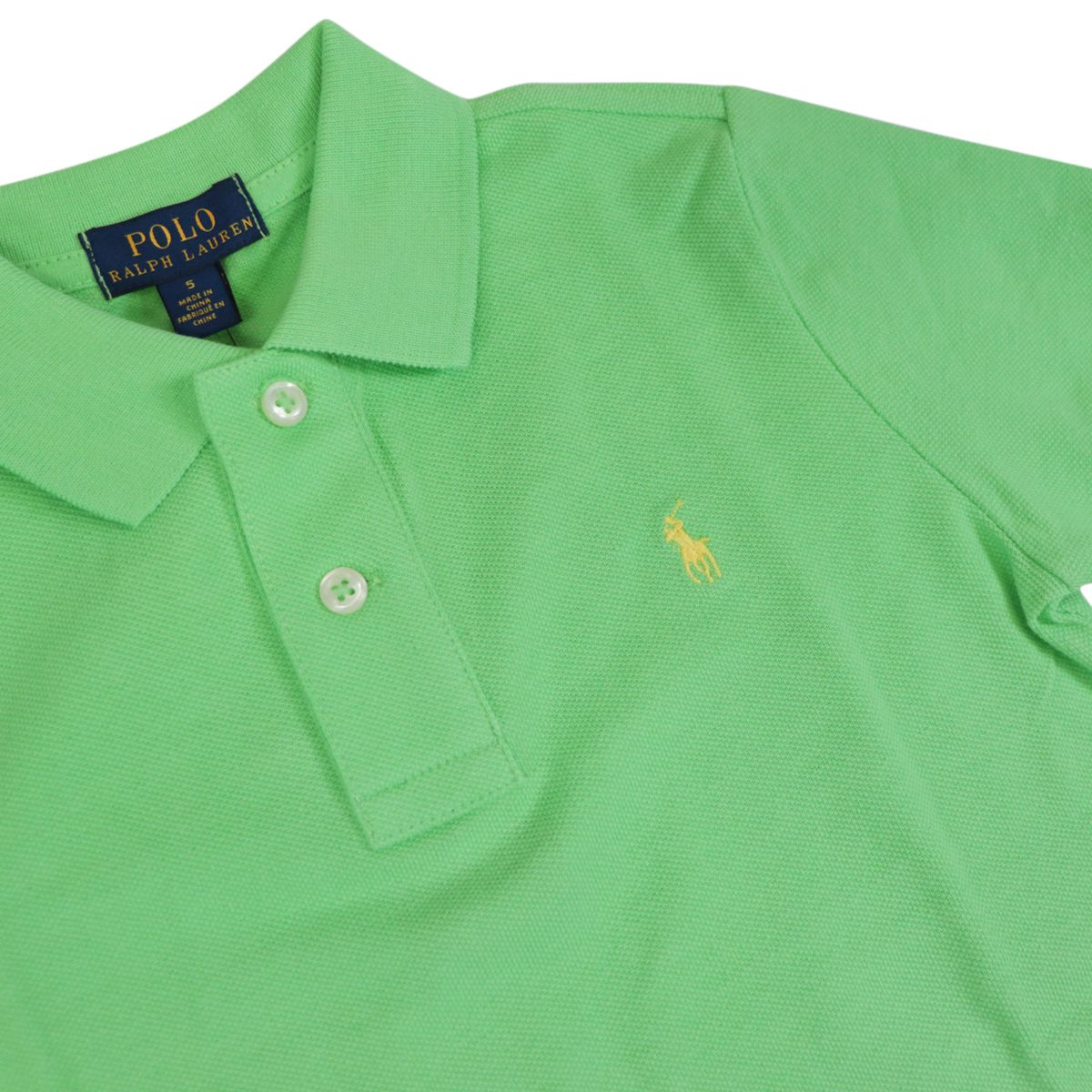Two-button cotton polo shirt with contrasting embroidered logo New lime Polo Ralph Lauren