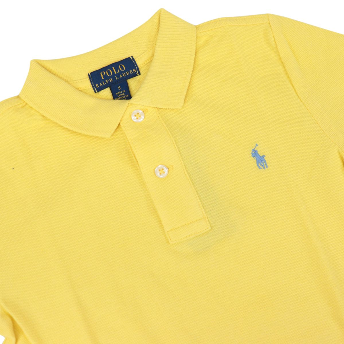 Two-button cotton polo shirt with contrasting embroidered logo Yellow Polo Ralph Lauren
