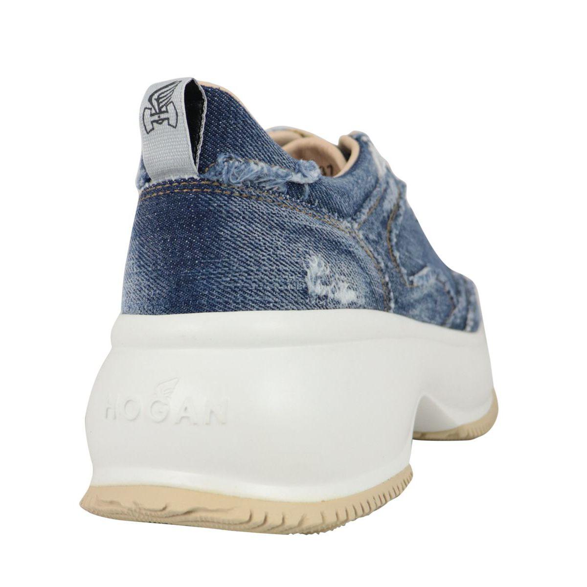 Maxi Active sneakers in used denim Light denim Hogan