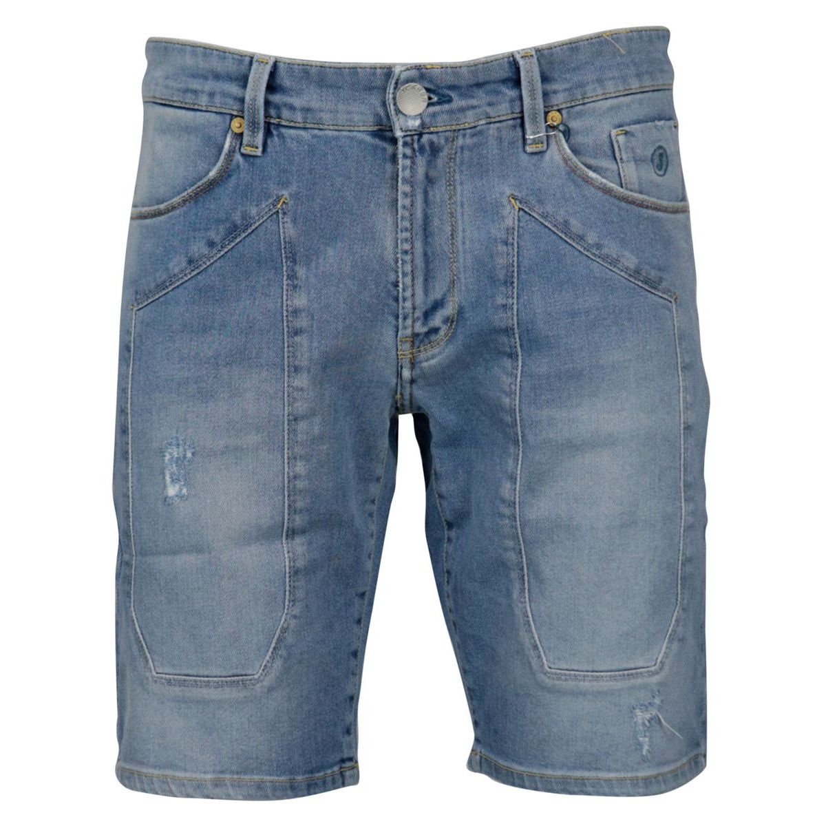 Cotton denim shorts with 5-pocket patch Light denim Jeckerson
