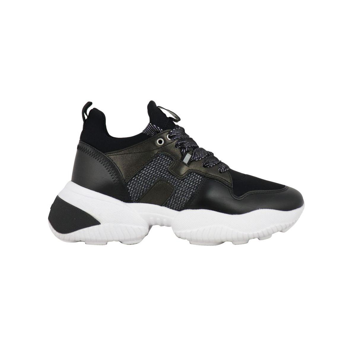 Slip one sneakers in leather and neoprene Black Hogan