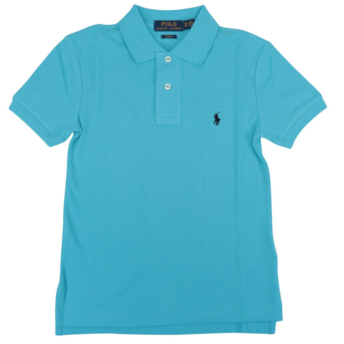Custom fit polo shirt with contrasting logo embroidery Blue Polo Ralph Lauren