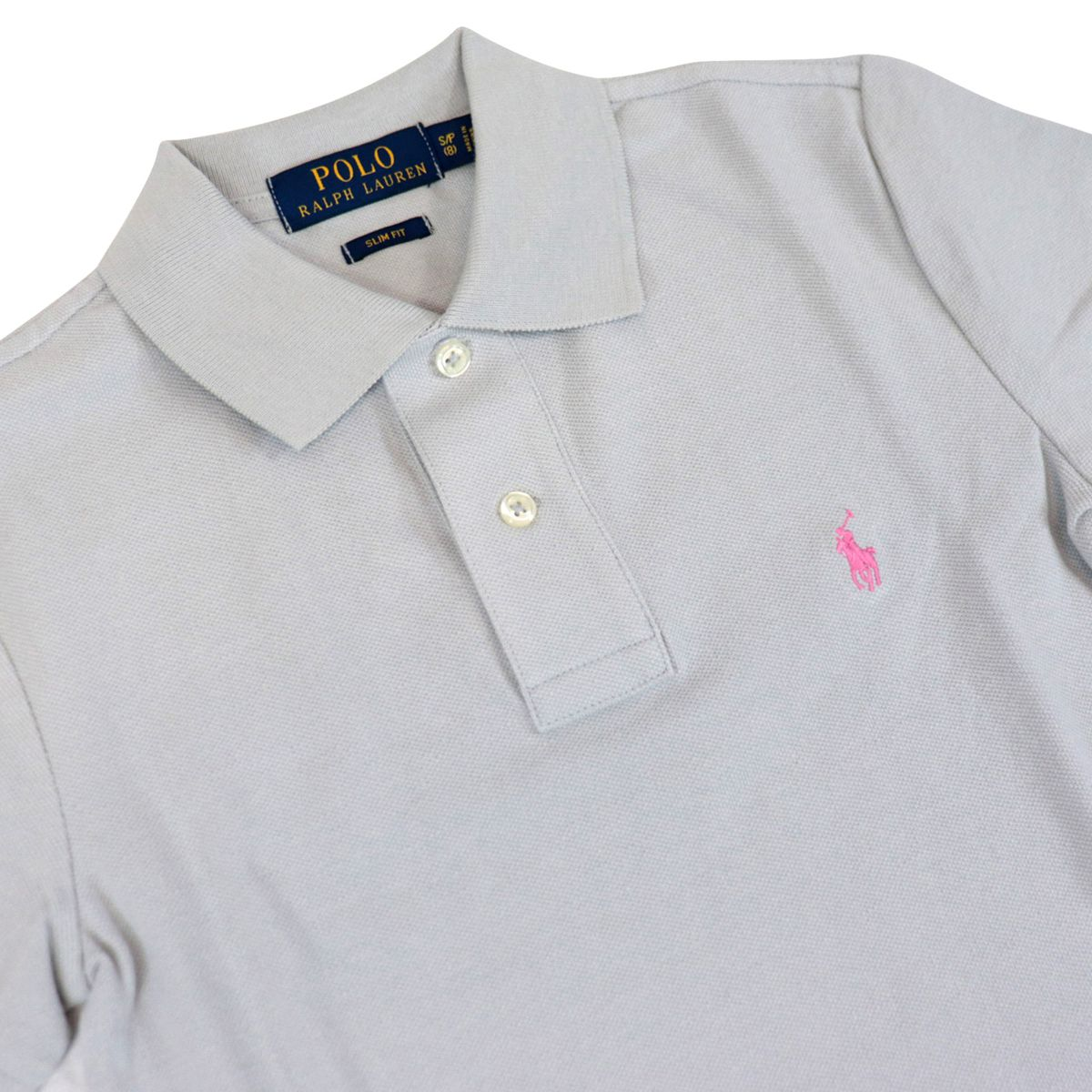 Custom fit polo shirt with contrasting logo embroidery Light smoke Polo Ralph Lauren