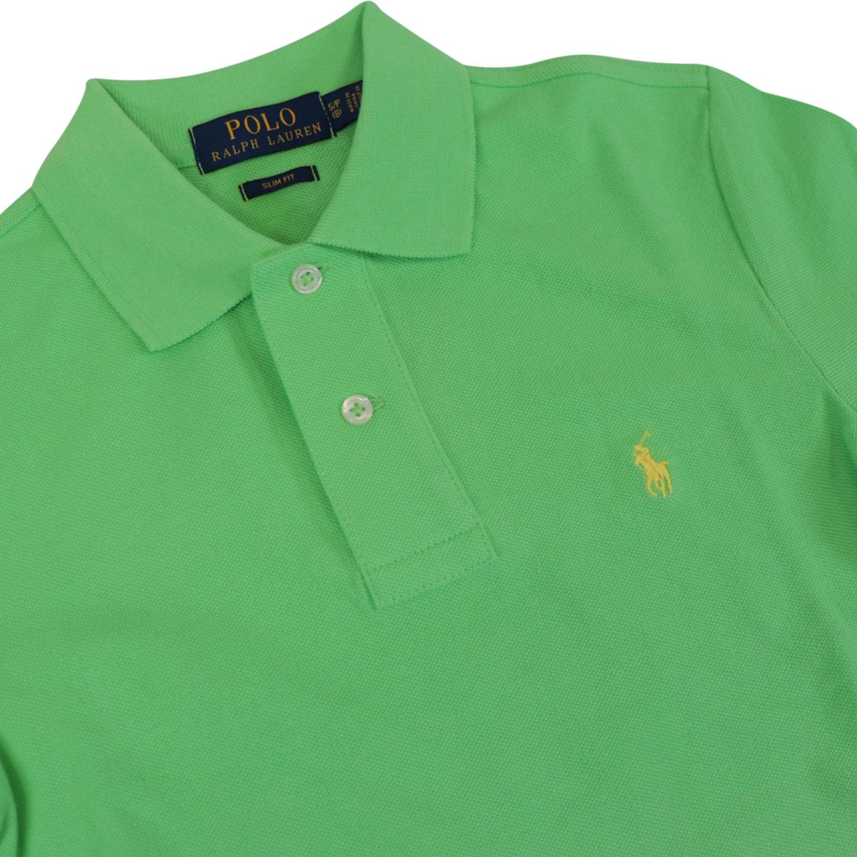 Custom fit polo shirt with contrasting logo embroidery New lime Polo Ralph Lauren